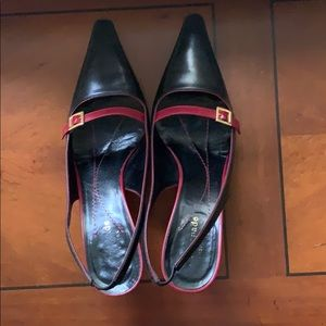 Kate Spade Kelly Heel in Black/Ruby, EUC sz 7.5